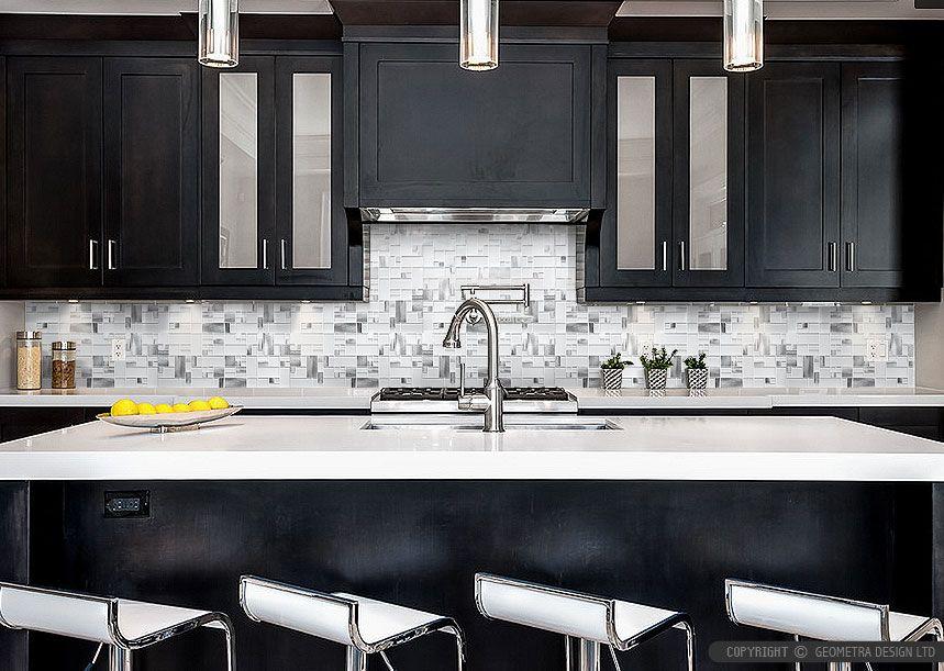 White Glass Metal Modern Backsplash Tile For Contemporary To