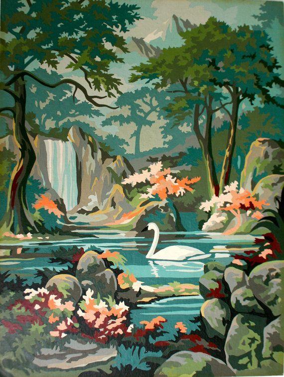 Vintage Paint By Numbers Swan Painting Vintage Painting Painting