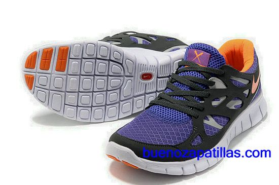 release date: 8c95f 5377a Hombre Nike Free Run 2 Zapatillas (color  vamp - negro , purpura ,  logotipo y el interior - naranja sole - blanco)