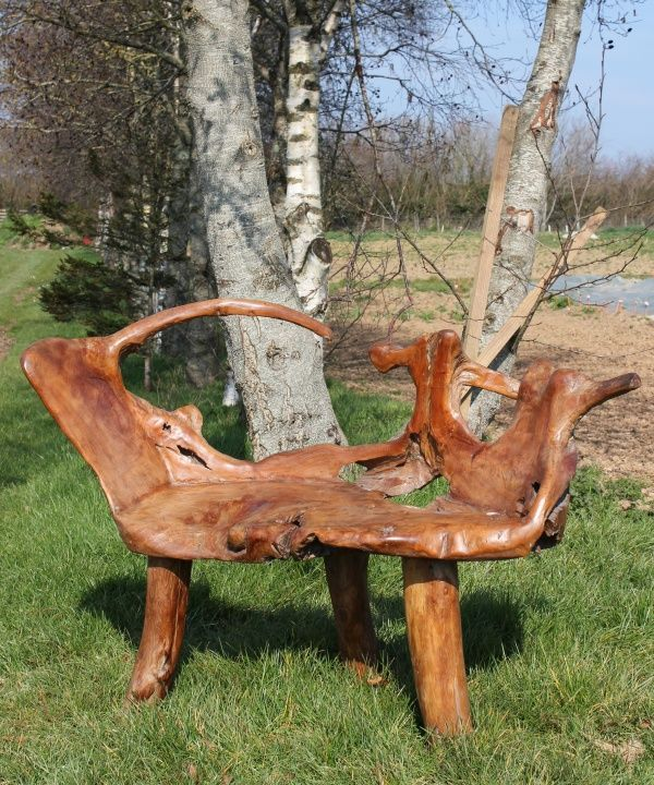 Fair Trade Hand Carved Solid Teak Root Bench Chair