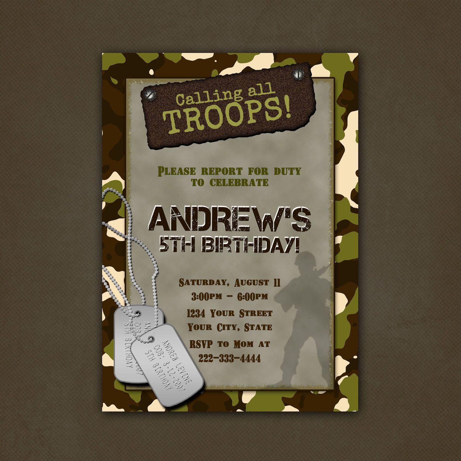 Military Camouflage Birthday Party Invitations Printable File Boy