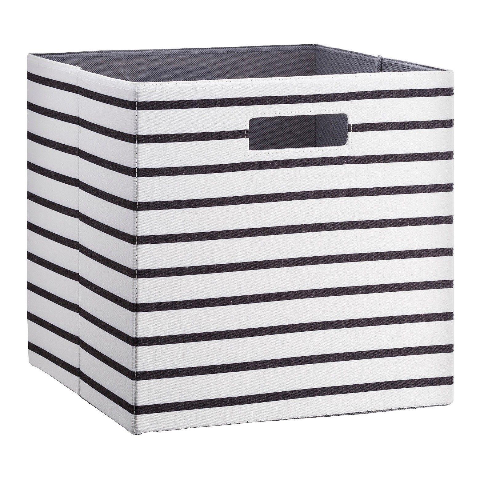 Fabric Cube Storage Bin White Black Stripe 13 Threshold Cube Storage Bins Fabric Storage Bins Fabric Storage Cubes