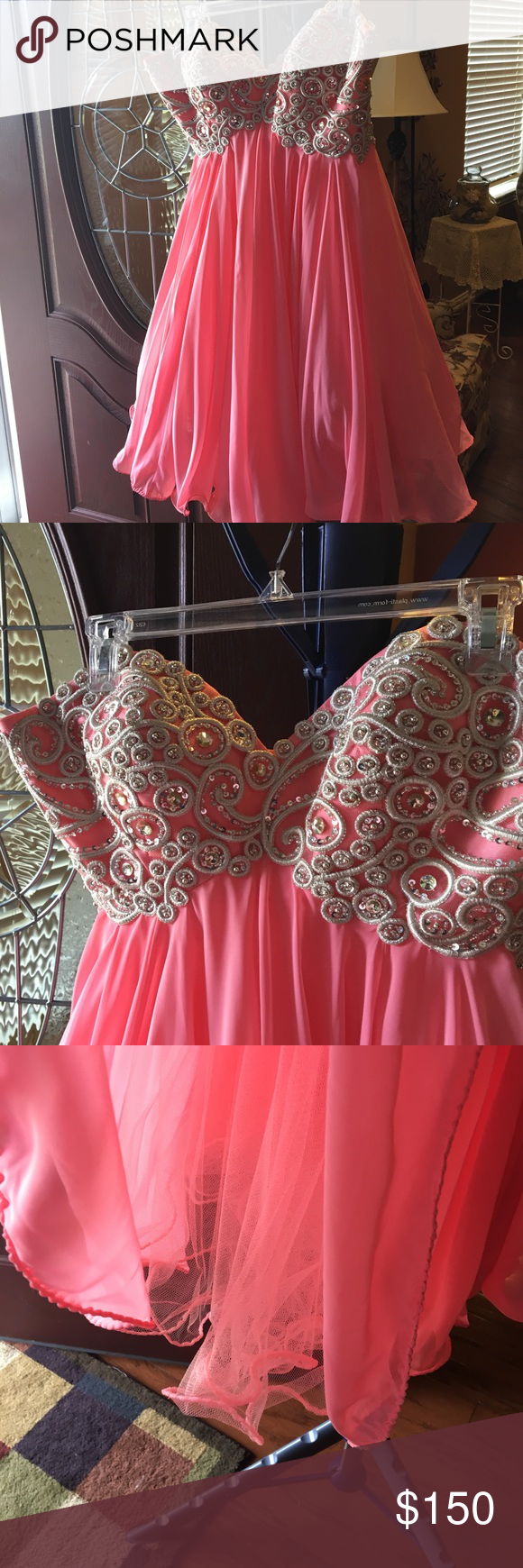 Prom dress sz salmon color salmon color prom and layering