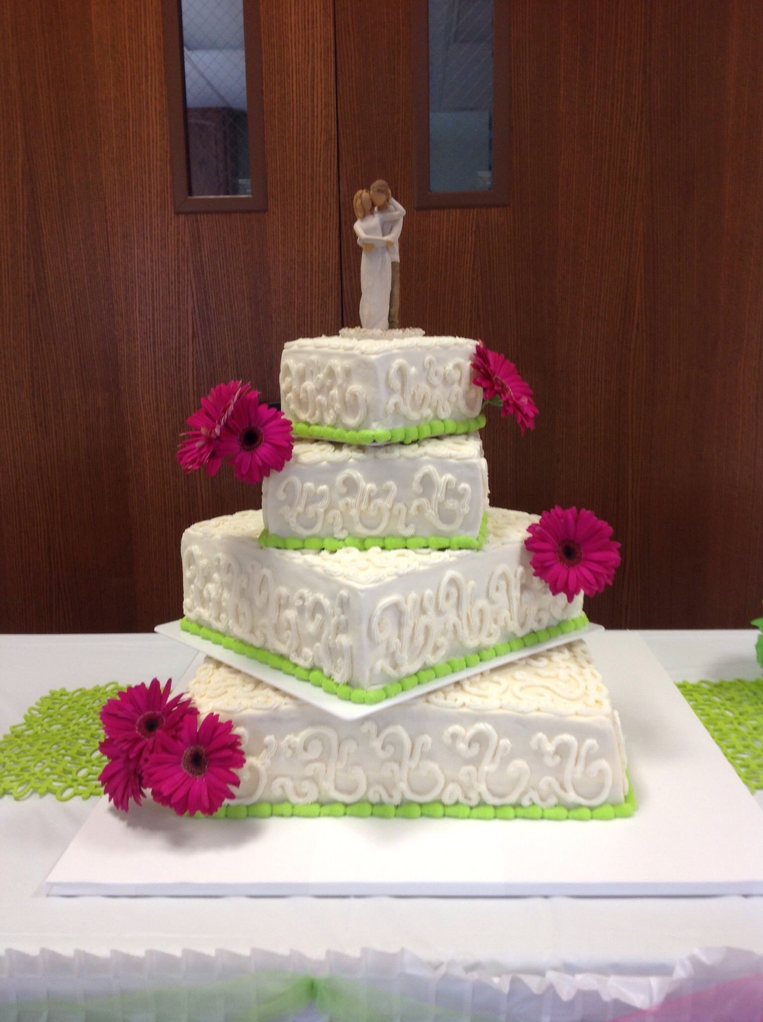 Hot Pink and Lime Green Wedding Cake | It\'s Your Party - Custom ...