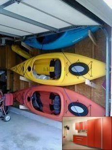 Garage With Storage Loft And Pics Of Garage Organization Companies Richmond Va Garagestorage Garag Kayak Storage Garage Kayak Storage Rack