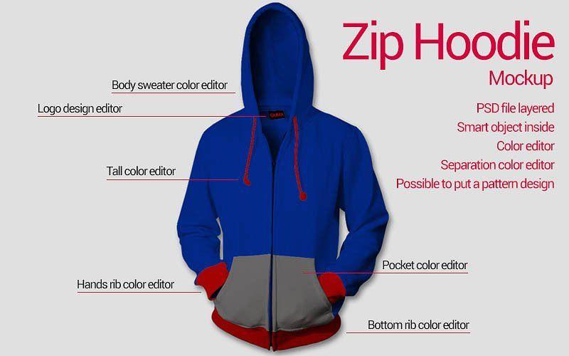 Download Zip Hoodie Mockup Hoodie Mockup Clothing Mockup Zip Hoodie