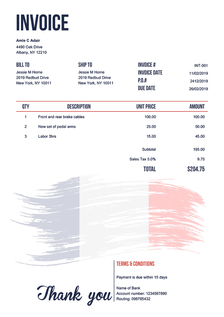 Invoice Template En Flag Of France Invoice Template Invoicing Templates