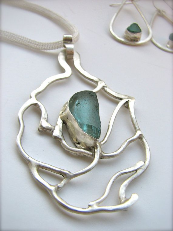 Something Blue Bridal Vine Necklace Sea Glass Necklace Sterling