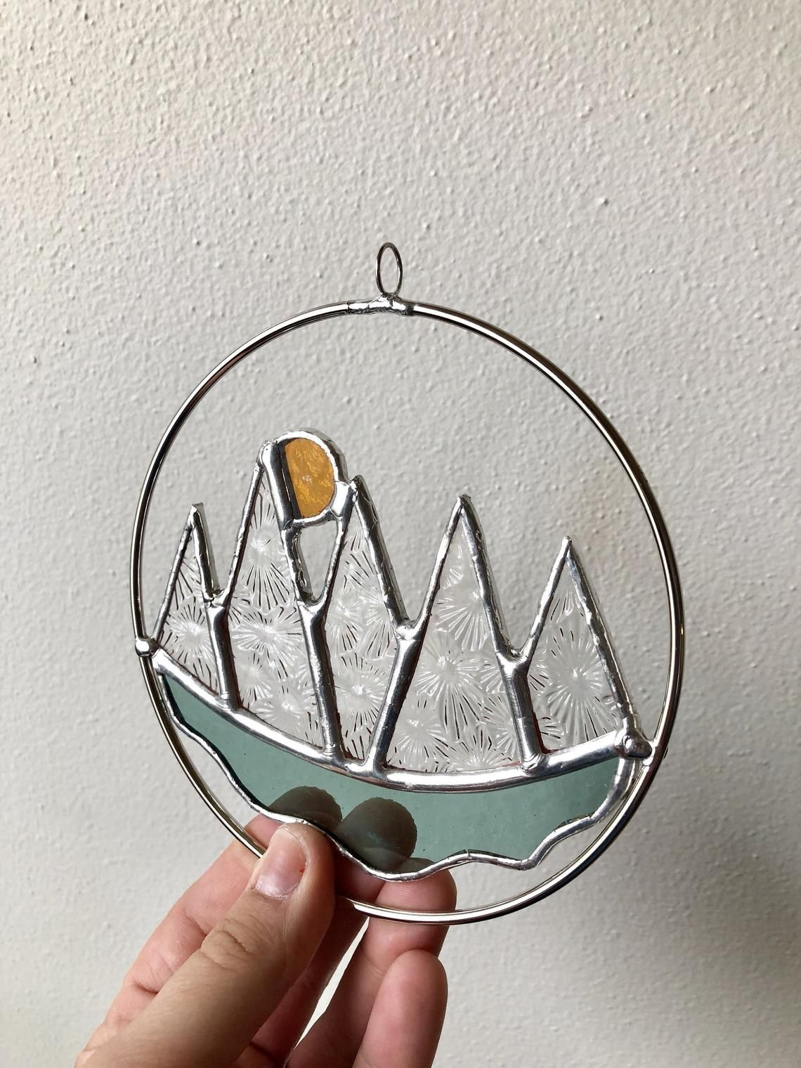 Stained Glass Geometric Nature Art Sun And Mountains Stained Glass Crafts Stained Glass Diy Stained Glass Ornaments