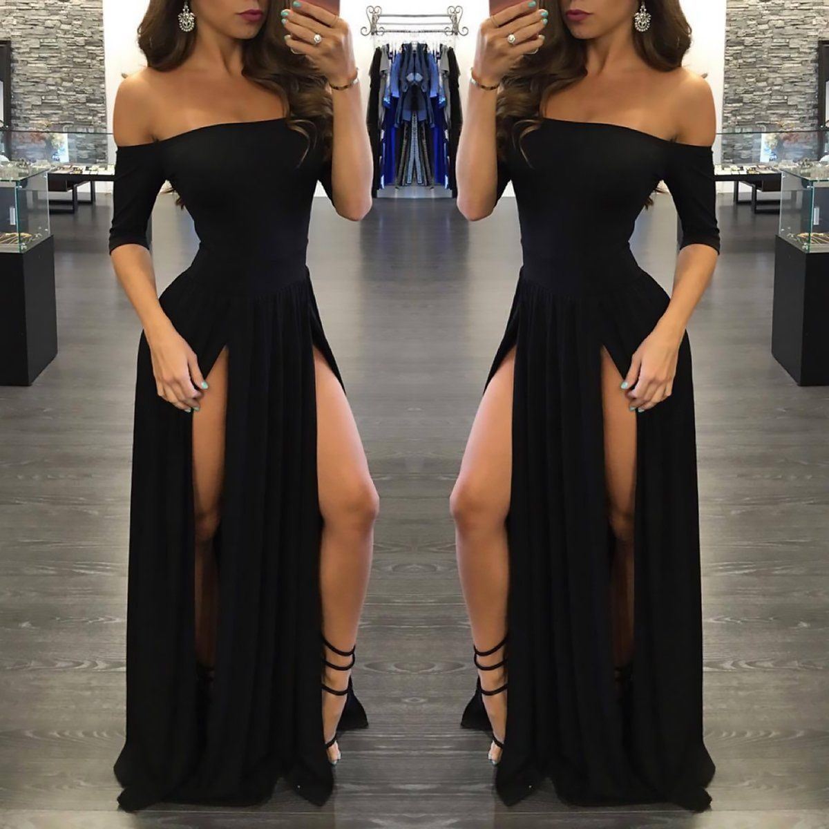 Sexy black prom dresslong prom dre sexy long prom dresses and sleeve