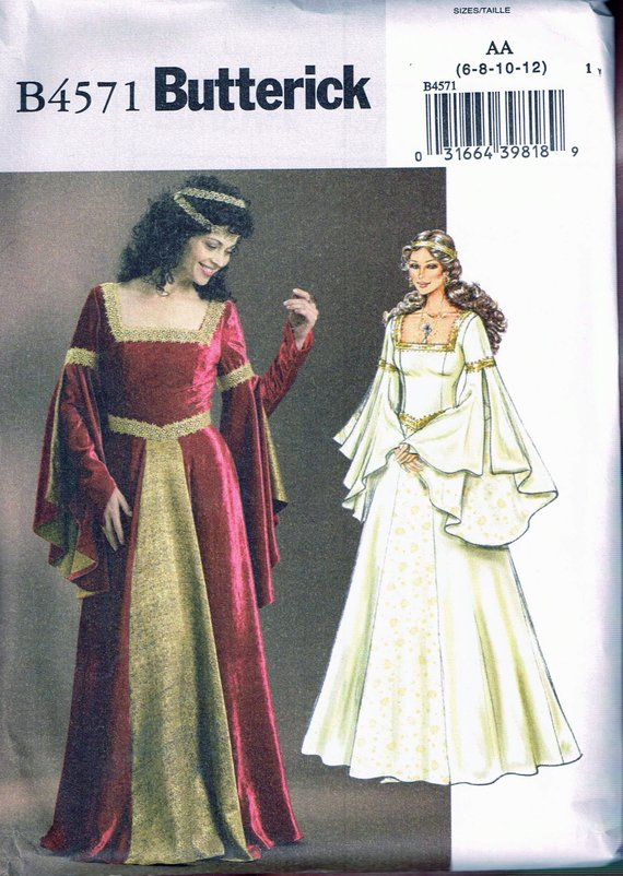 08ef69dcf6 Size 6-12 Medieval Renaissance Dress With Bell Sleeves   Lace Up Back  Costume Sewing Pattern - Butte