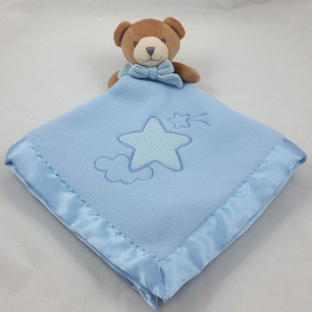 TEDDY BEAR SOFT /& CUDDLY BABY COMFORTER BLANKET BLUE-PINK-WHITE-SATIN BACK-NEW