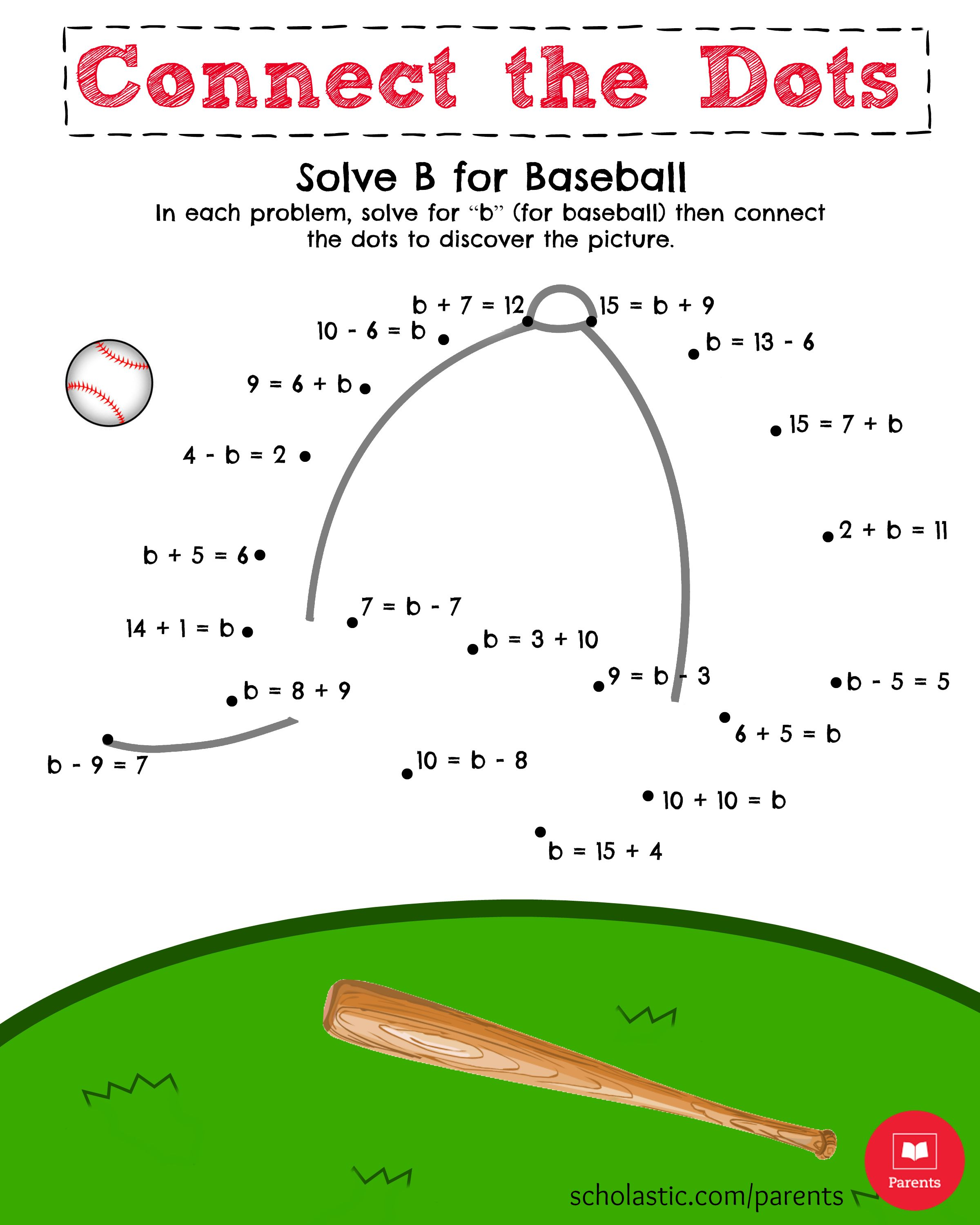 Solve B For Baseball Math Printable Math Printables Math Worksheets Education Math