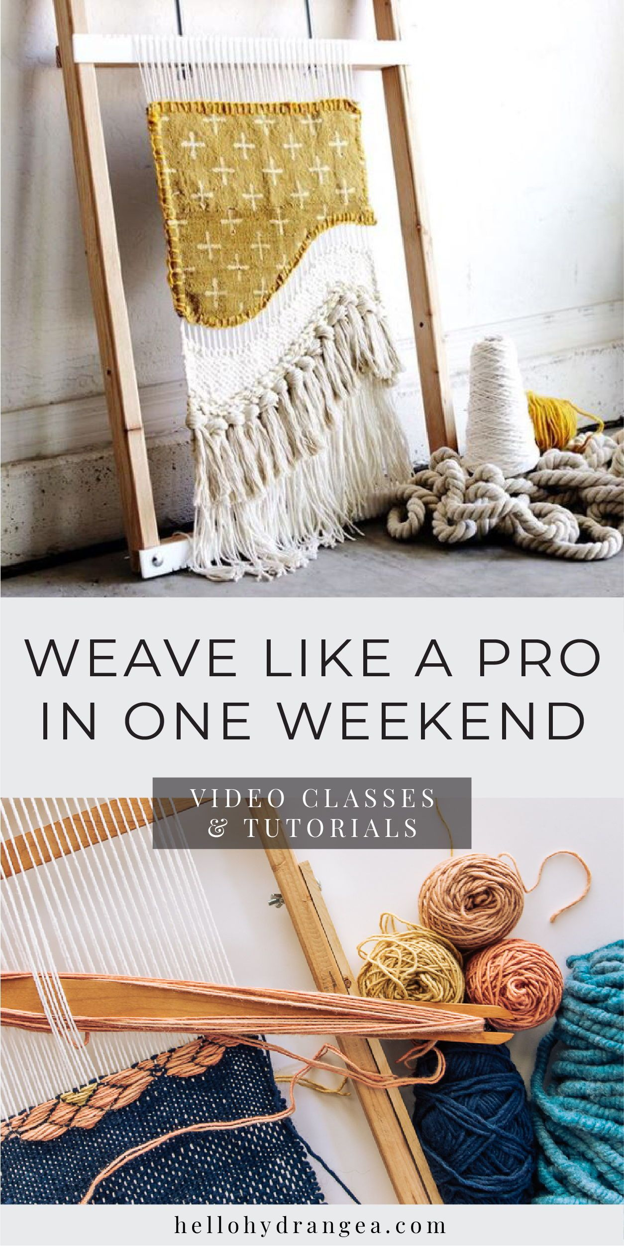 Weave Like a Pro in One Weekend | Video Classes & Tutorials Weaving projects for beginners, using a weaving frame loom and yarn. Hello Hydrangea has many weaving ideas, DIYs and tutorials for weaving that are easy so that you can make tapestries, rugs, wall hangings, home decor and other woven projects. Click through to check out her complete online weaving video classes and patterns. #weaving #weavingart #welcometoweaving #diyhomedecor #craftprojects #homedecorcraftideas #hellohydrangea #weaving