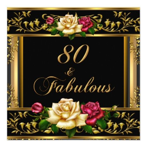 80th Wedding Anniversary Gift: Womans 80th Birthday Party Rose Gold Vintage Invitation