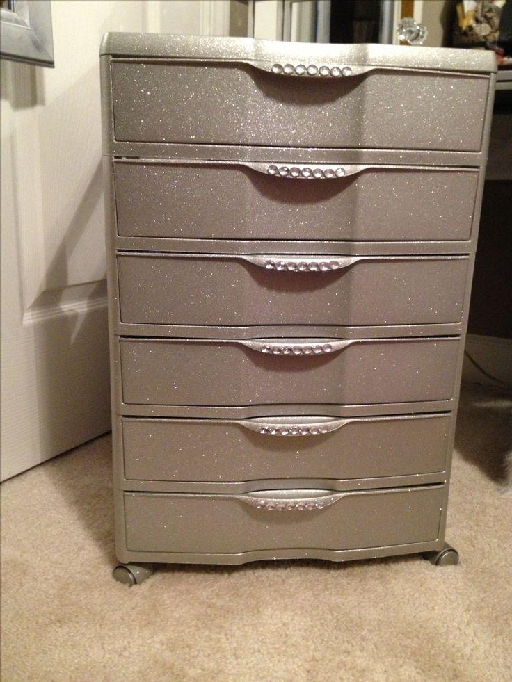 Plastic 6 drawer bin from Walmart... Spray paint , glitter and ...