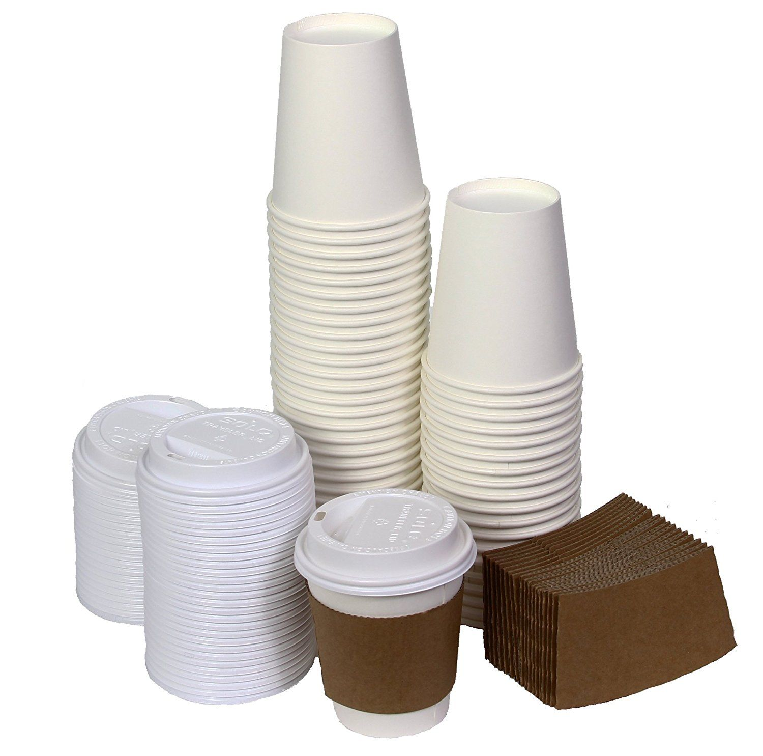 NYHI 10 Ounce Disposable Coffee Cups with Lids