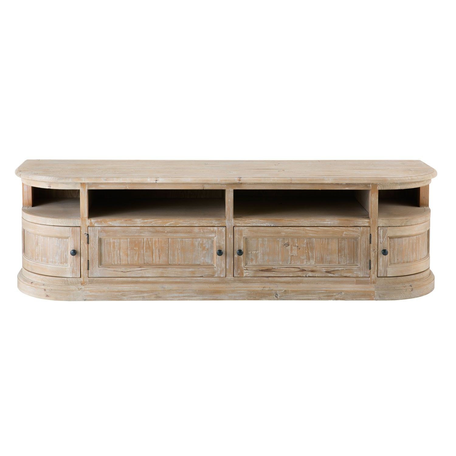 Showcase Your Screen With The Flaubert 4 Door Tv Stand Made From Recycled Pine With A Slightly Limewashed Finish It Will Add An Ele Porta Tv Mobili Tv Mobili
