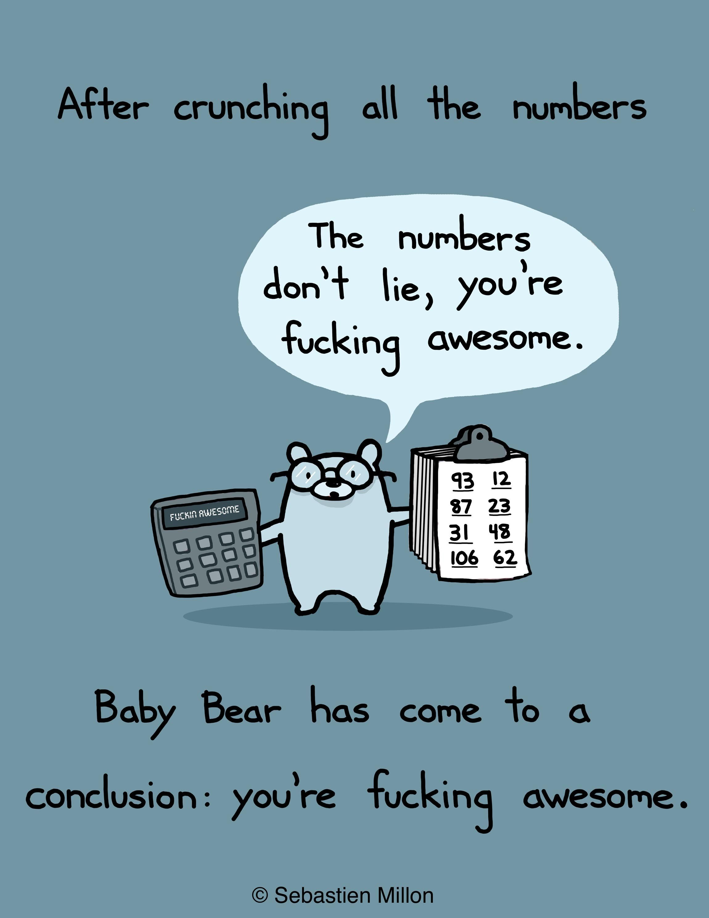 Baby Bear Is Good With Numbers By Sebastien Millon