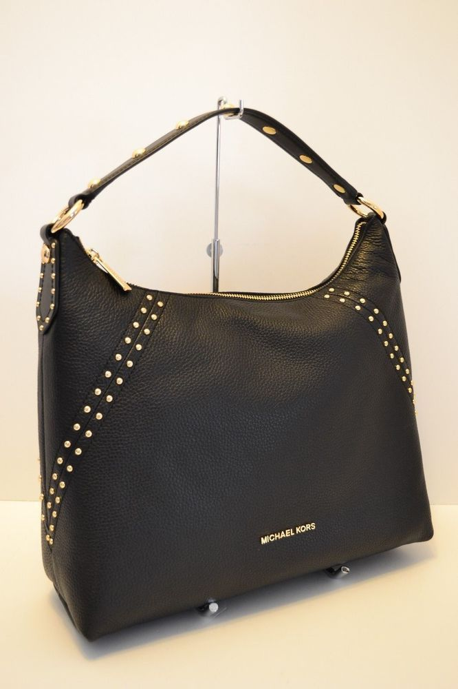 22b002e4e7cf4b NWT MICHAEL KORS ARIA STUDDED MD TZ LEATHER SHOULDER BAG in BLACK #fashion  #clothing #shoes #accessories #womensbagshandbags ...
