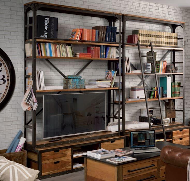 Photo of Librerie industriali in legno e ferro soggiorno in stile industriale di nuovi mondi di flli unia snc industrial | homify