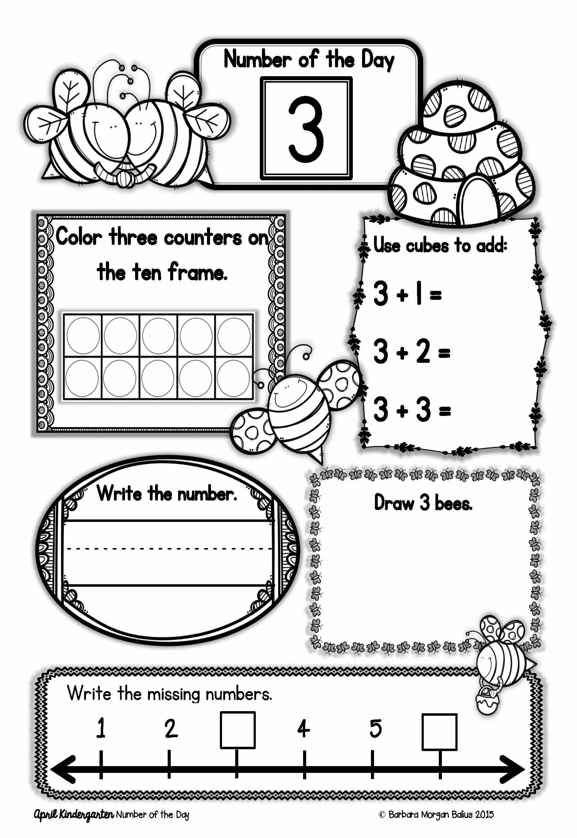 Kindergarten Math Number Of The Day Number Sense Morning