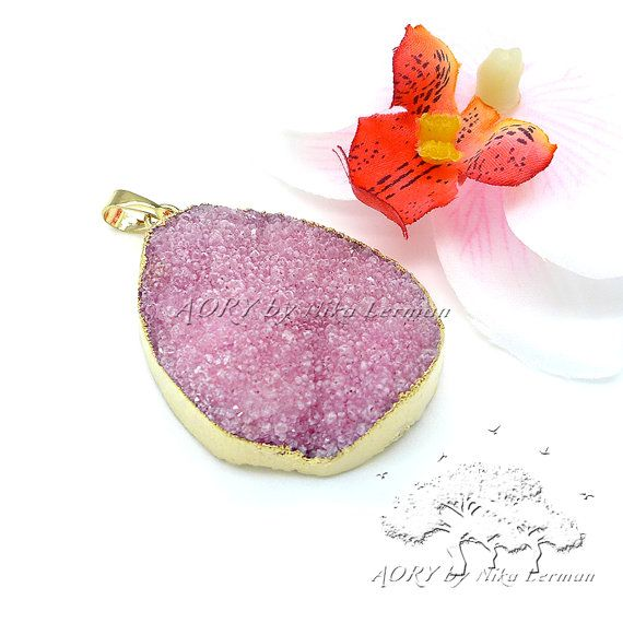 1 pcs 18K Gold Plated Bezel Druzy Pendant in Pink Color by AoryNL, $9.90