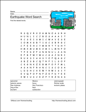 Download These Printable Earthquake Word Games. | Word search ...