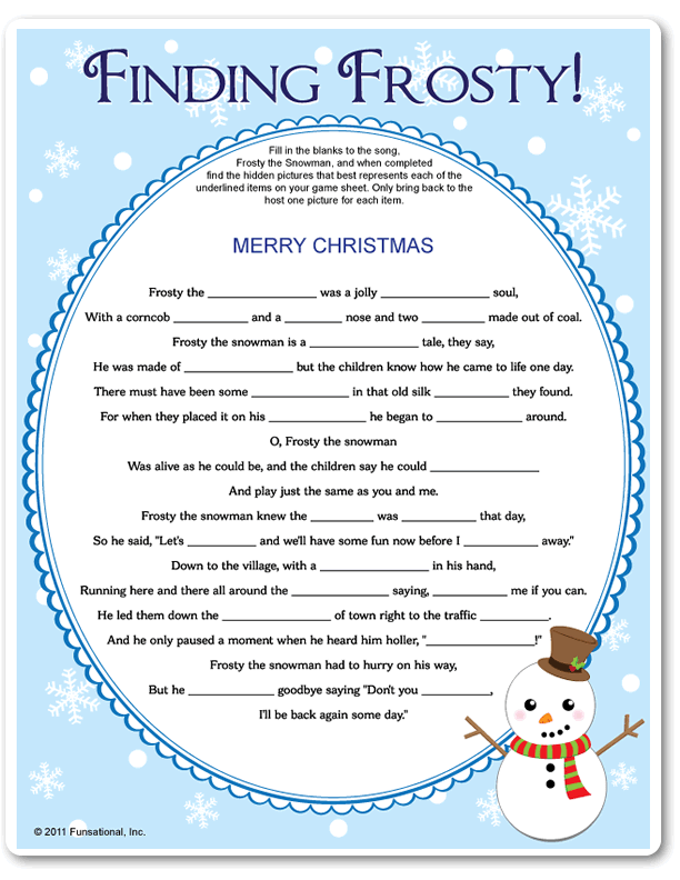 image about Winter Trivia Questions and Answers Printable titled Printable Locating Frosty -  Xmas
