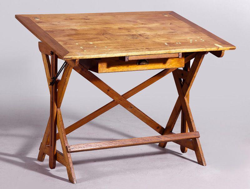 Lote 319 trabajo espa ol pps del s xx mesa de arquitecto en madera de pino alcal - Mesas de arquitecto ...