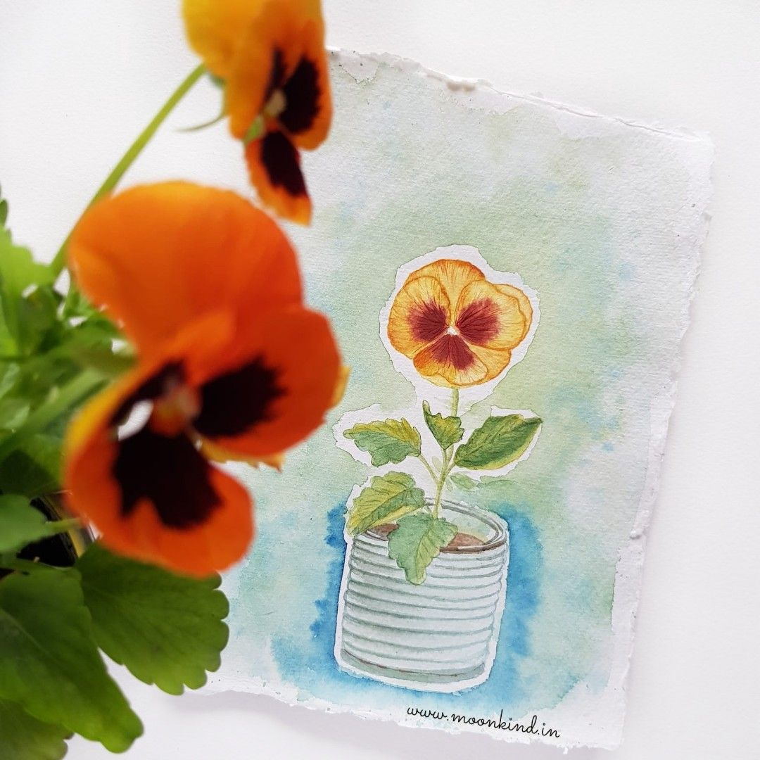 Nature S Cute Fancy Emoji Pansy Watercolor Painting Florals Yellow Pansies Painting Tutorial Art Inspiration