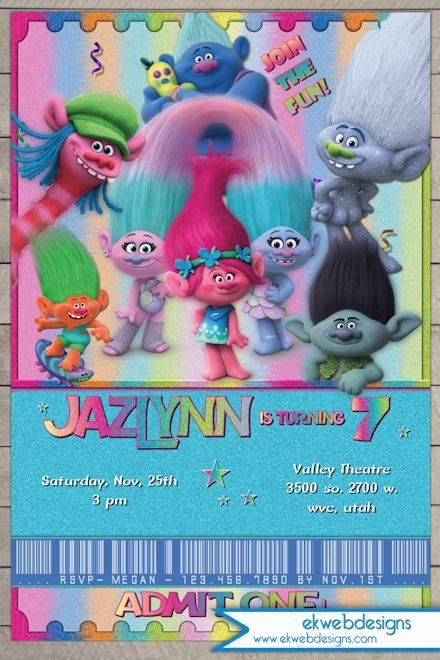 Trolls Movie Birthday Invitation - Dreamworks Trolls Movie Ticket - create your own movie ticket