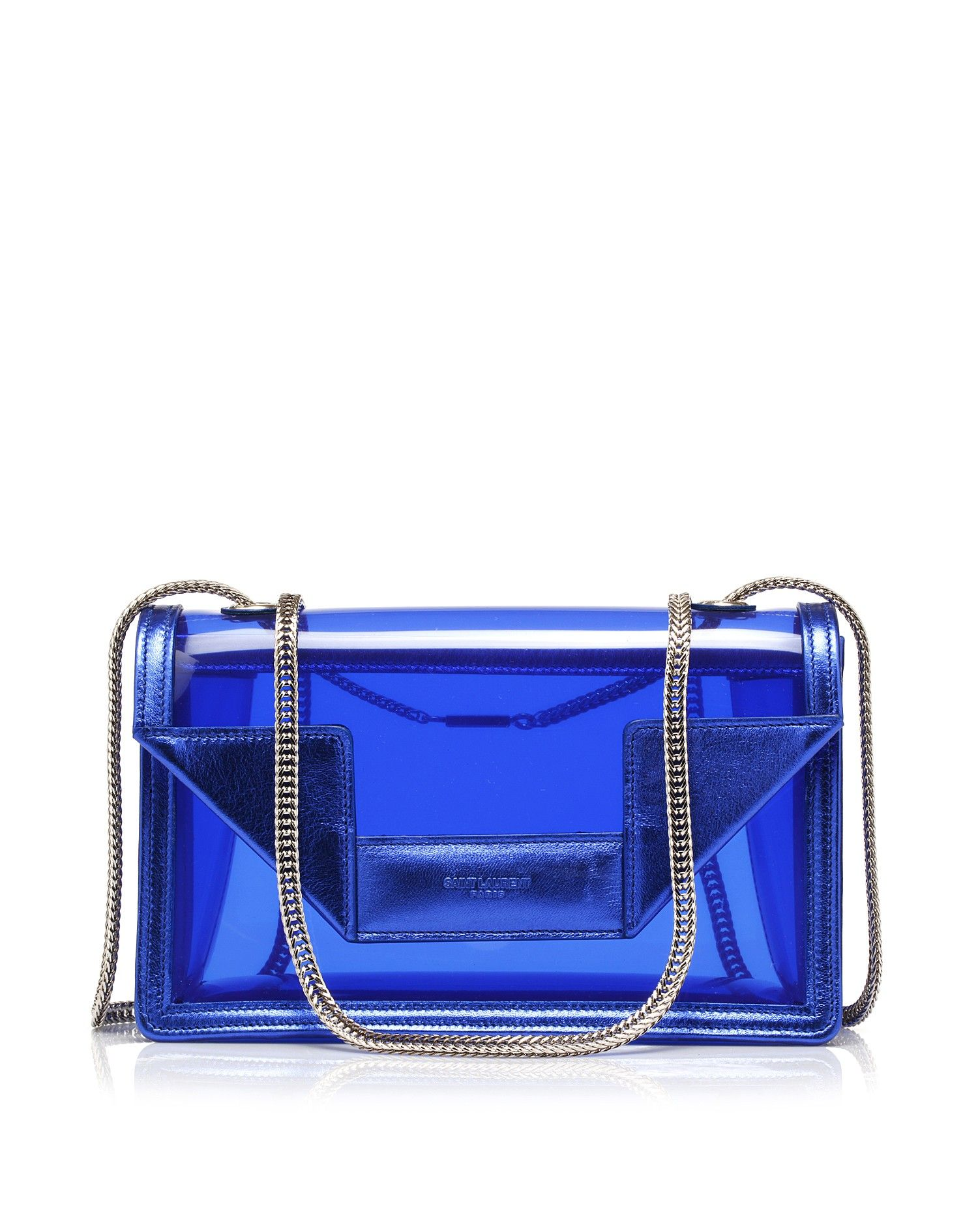 779a2aab15cdce Transparent pvc bag by #SaintLaurent | bag | Bags, Blue bags, Clear bags