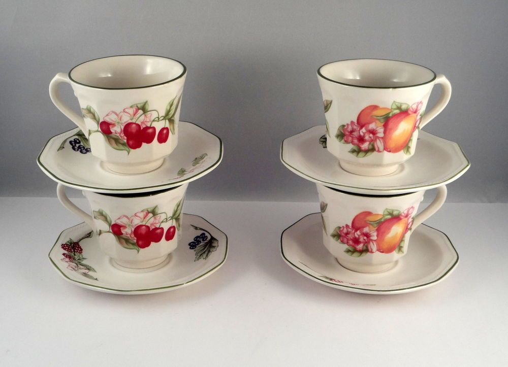 4 Fruits Pattern Cup u0026 Saucer Churchill Fine English Tableware Staffordshire & 4 Fruits Pattern Cup u0026 Saucer Churchill Fine English Tableware ...