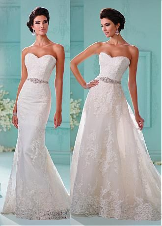 Junoesque Tulle Sweetheart Neckline 2 in 1 Wedding Dresses With Lace ...