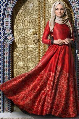 1962283adf6fa Muslima Wear Kırmızı Osmanlı Twil İpek Tesettür Abiye Elbise | Abiye ...