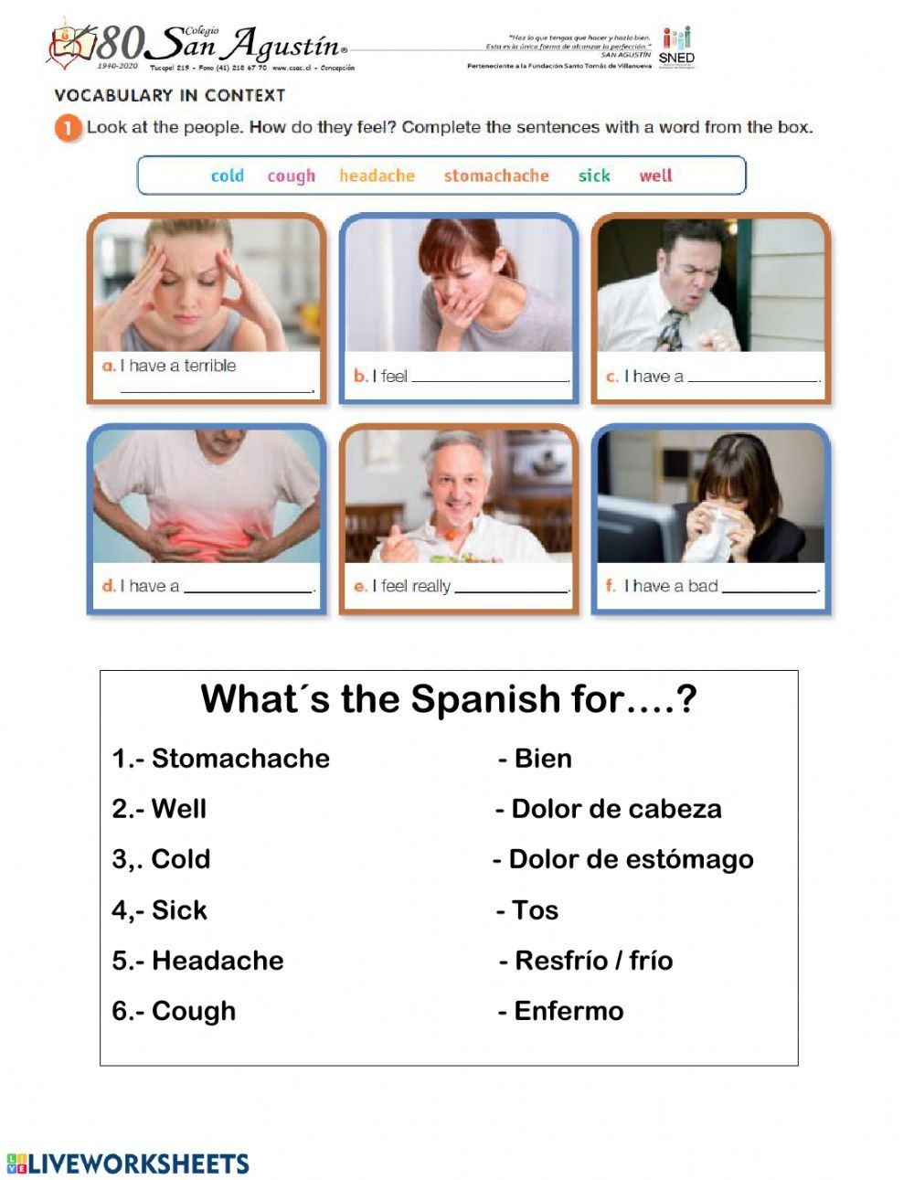Health Problems Vocabulary Interactive Worksheet Vocabulary Vocabulary In Context Vocabulary Worksheets