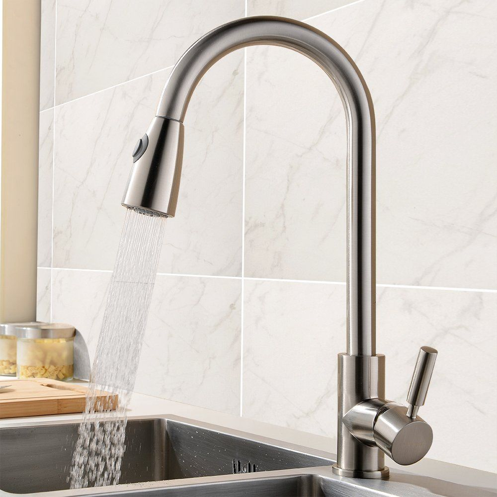 Brass Pull Out Spray Kitchen Faucet, Brushed Nickel Pull Down Dual ...