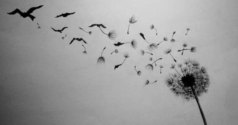 Dandelion into birds tattoo