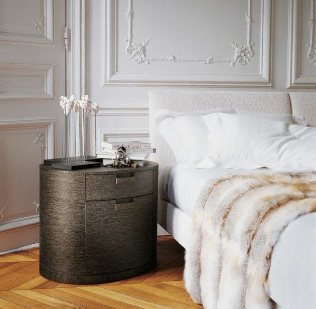 30 Stylish Interior Designs with Mouldings - contemporary bedroom side table