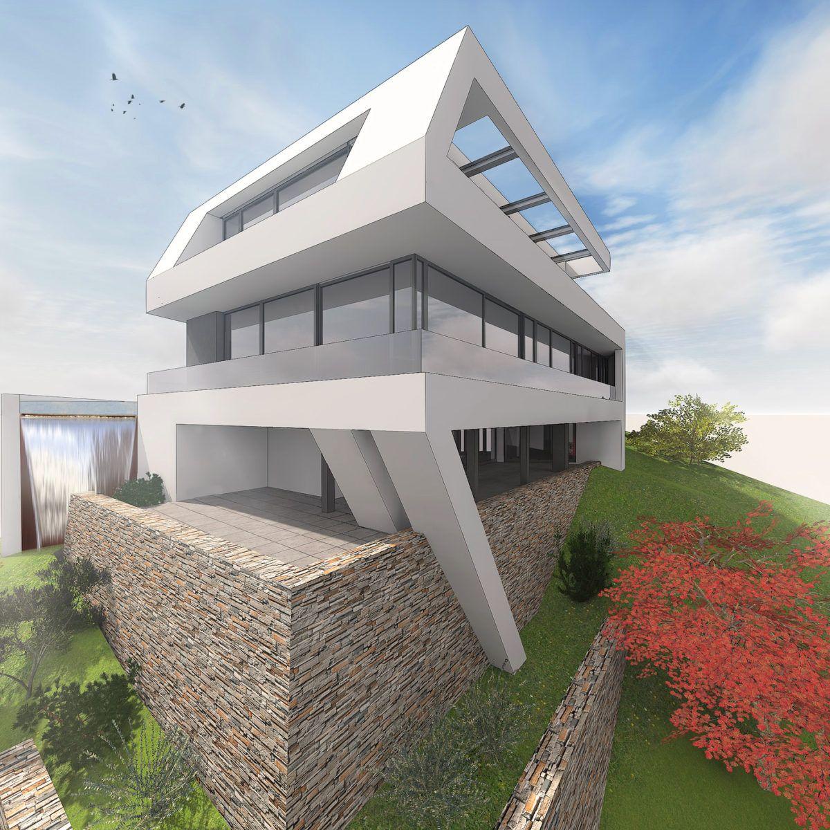 Hanghäuser Modern architektenhaus am hang im odenwald