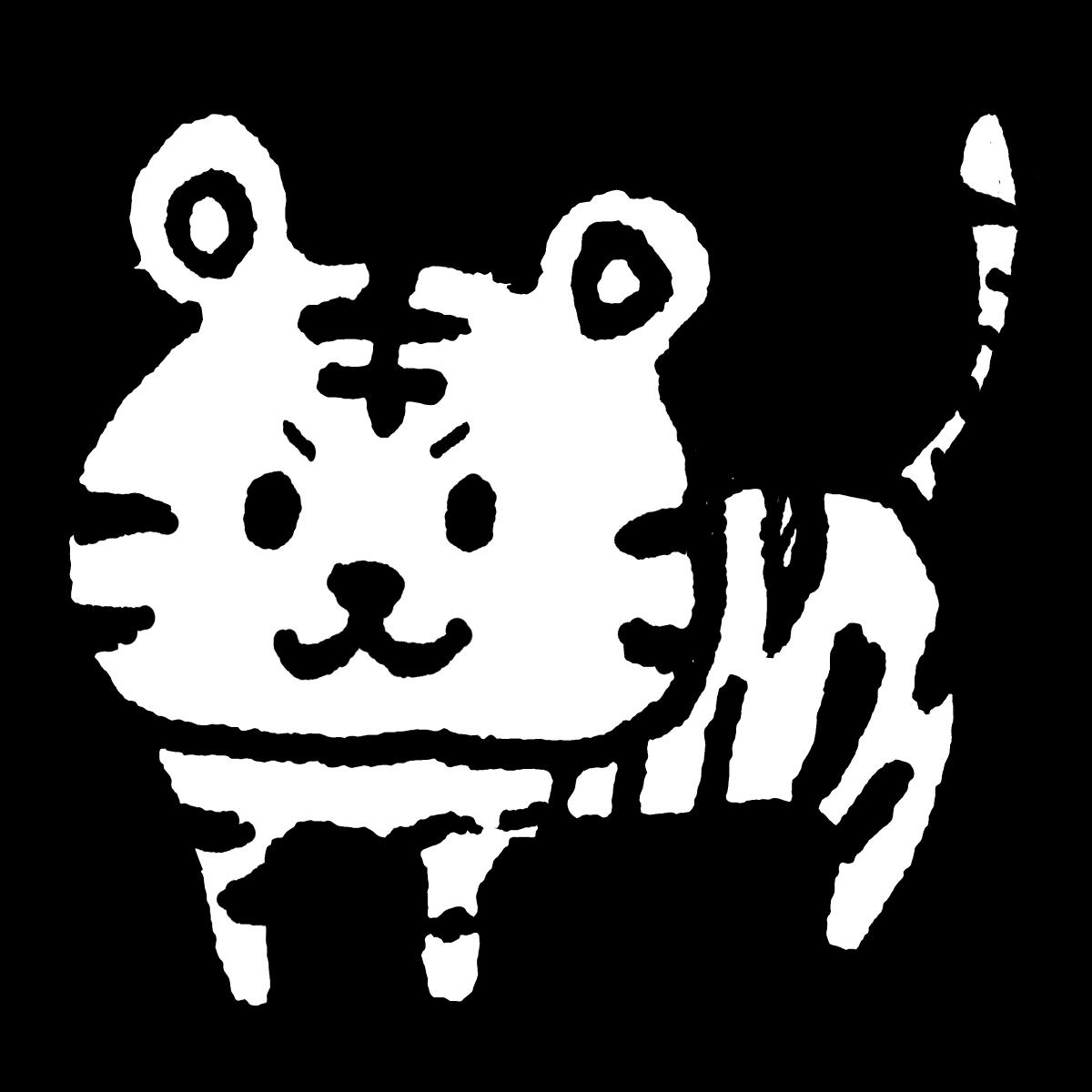 立つトラ がおーぼくかっこいいでしょ立っているピュアな虎です Cute Art Illustration Monochrome イラスト 手描きイラスト ゆるい かわいい 素材 イラスト 手描きイラスト 刺繍 図案