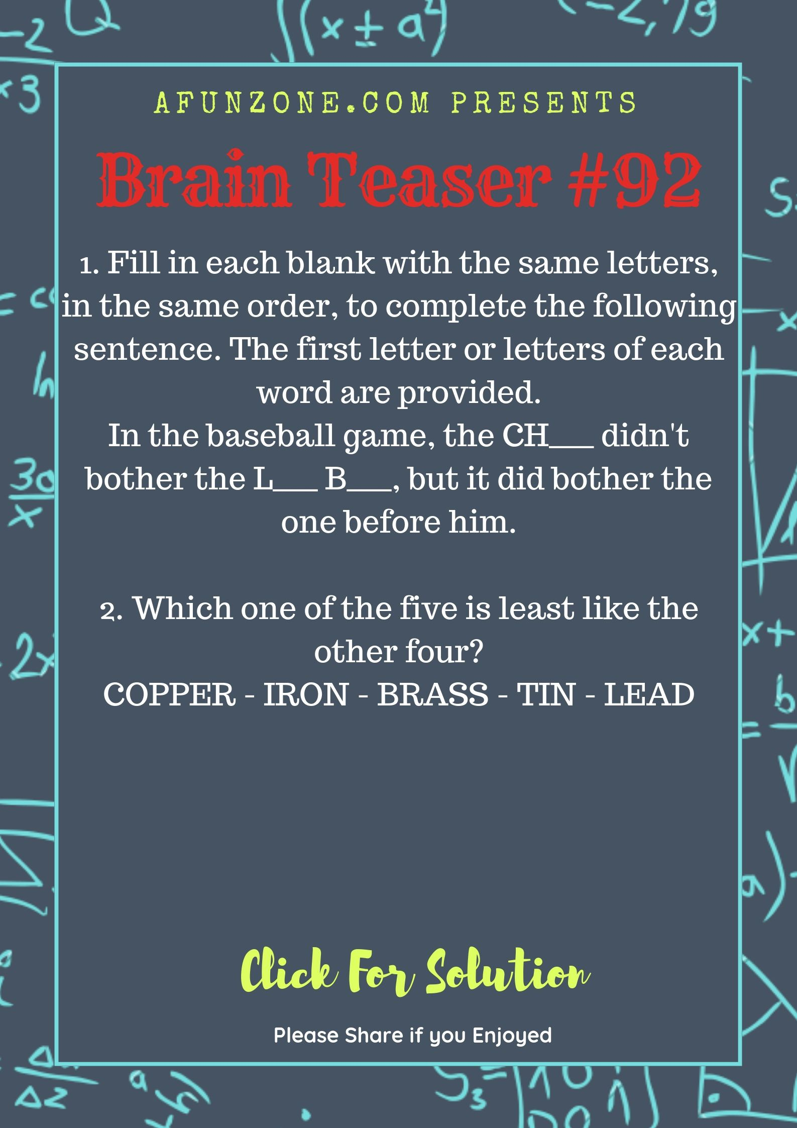 Today's Topic brainteaser Puzzle education letters