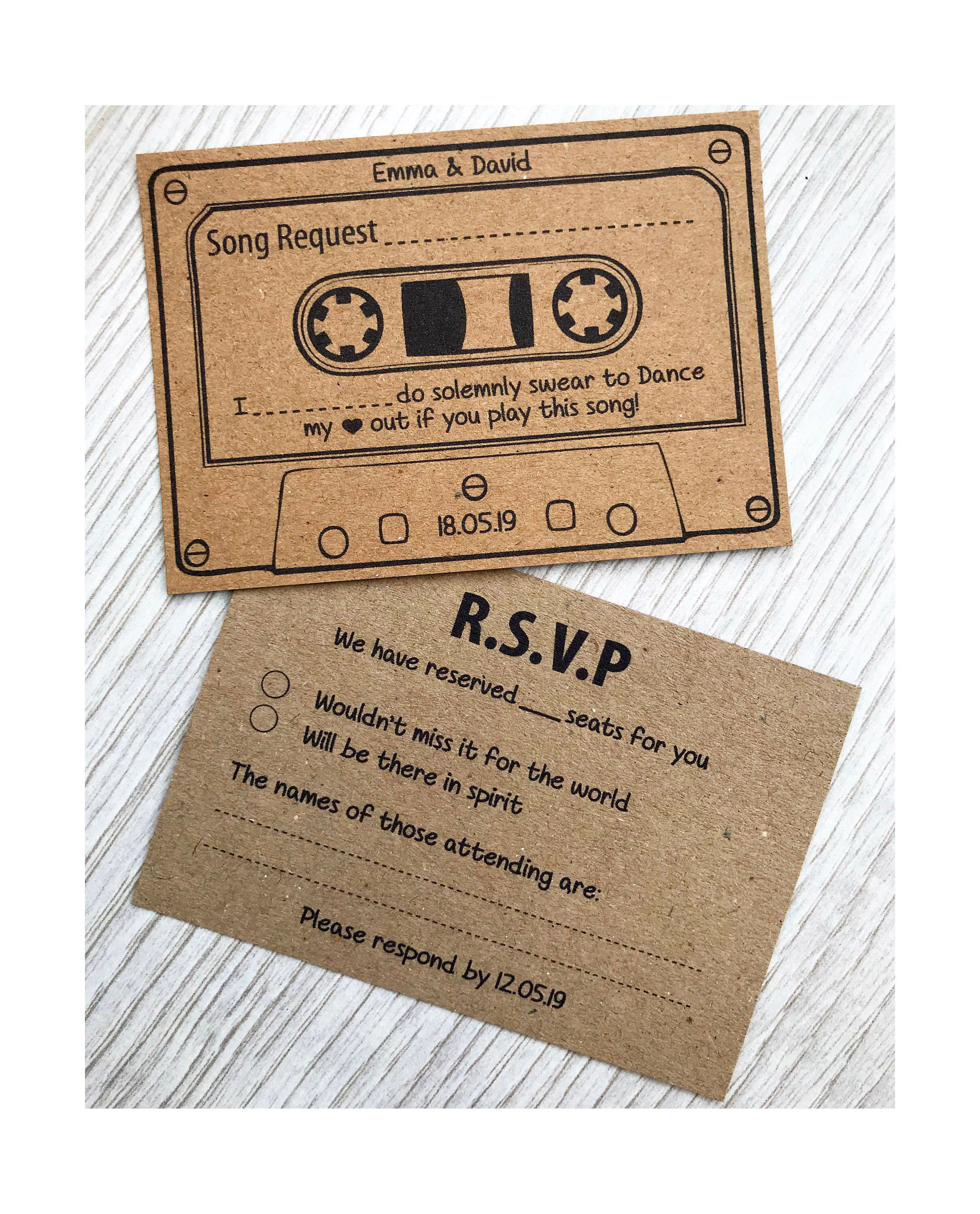 Fun Wedding Rsvp Card Wording: RSVP Wedding Cards Personalised Song Request Double Sided