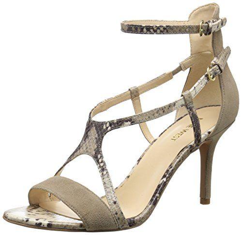 sandals: Nine West Women's Guppy Suede Dress Sandal,Taupe/Natural M US