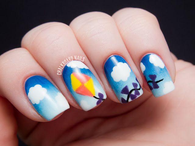 Let\'s Go Fly a Kite! | Chalkboard nails, Summer nail art and Nail nail