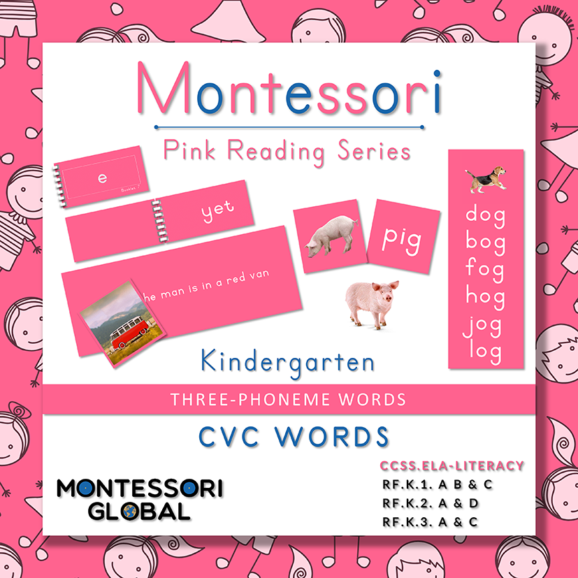 Montessori Pink Reading Series 3 Letter Phonemes (CVC