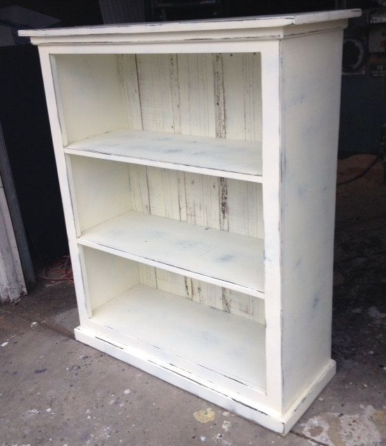 Bookcase antique white distressed shabby chic READY TO SHIP - Bookcase Antique White Distressed Shabby Chic READY TO SHIP Living