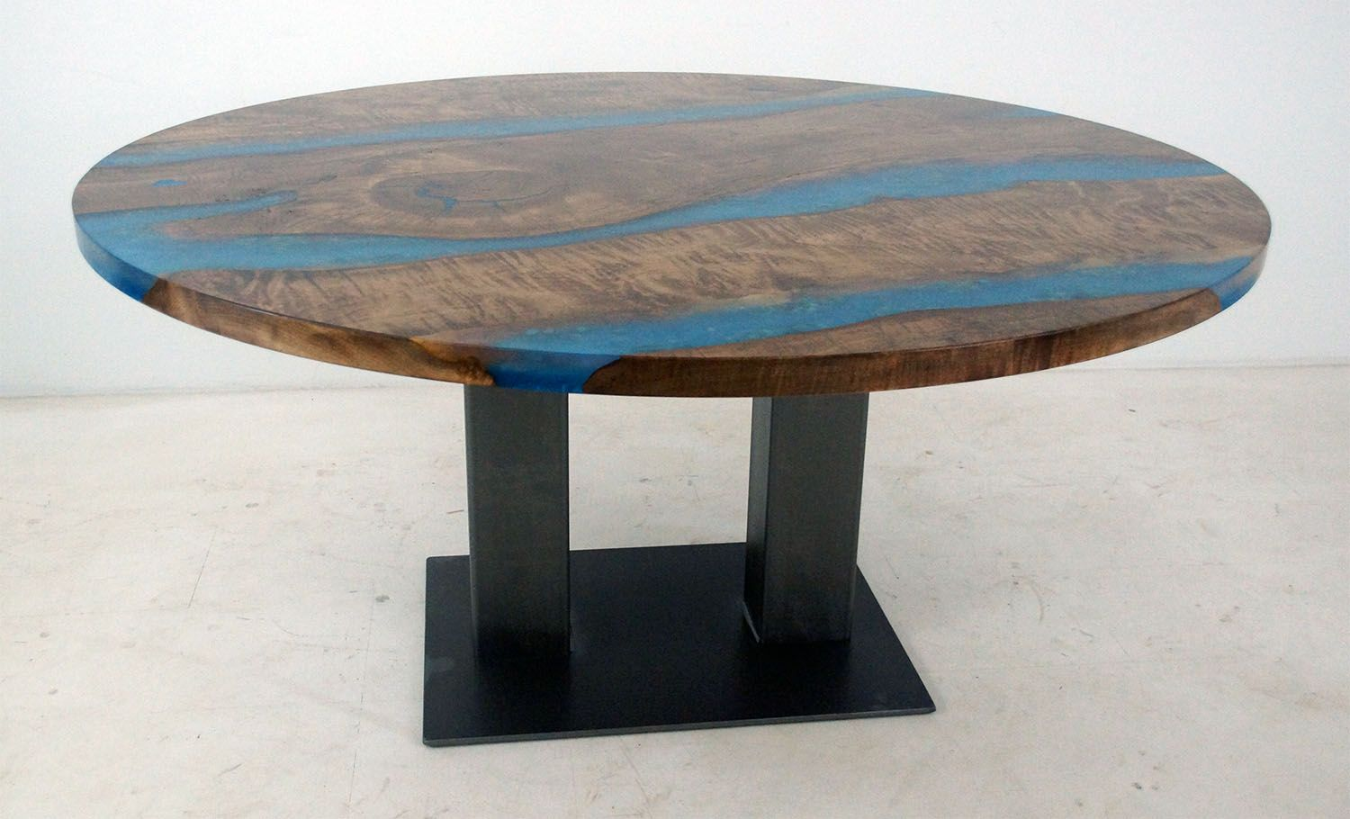 Stained Maple Round Table With Blue Resin And Stones Maple Wood Table Table Custom Table [ 910 x 1500 Pixel ]