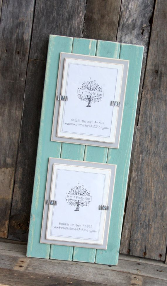 picture frame distressed wood double mats holds 2 5x7 photos beach teal light gray white - Double 5x7 Picture Frame
